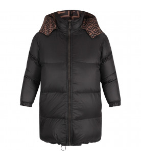 FENDI KIDS Black and brown kids jacket with double FF