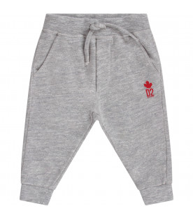 DSQUARED2 Grey babyboy sweatpant with red logo