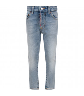 Denim light blue boy jeans with white logo