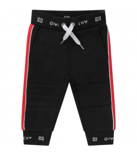 GIVENCHY KIDS Black babykids pants with white logo