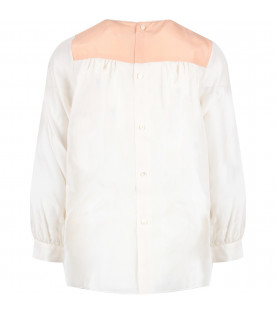 Pink and white blouse for girl with white logo