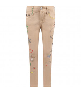 Beige girl jeans with  colorful prints and writing