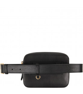 BURBERRY KIDS Beige and black girl bum-bag with gold logo