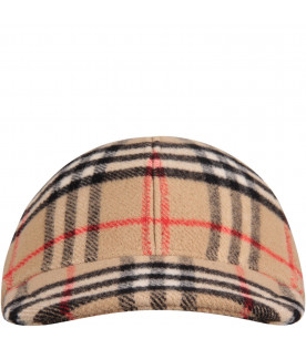 BURBERRY KIDS Beige kids hat with vintage check