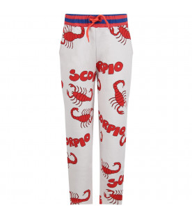 MINI RODINI Grey kids sweatpants with red scorpions