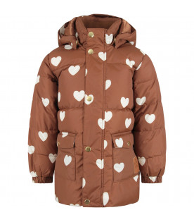 MINI RODINI Brown girl jacket with ivory hearts