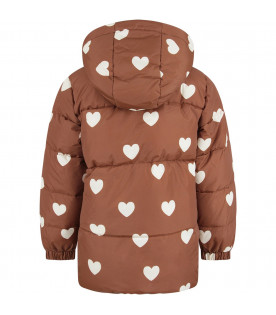 Brown girl jacket with ivory hearts