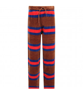 MINI RODINI Brown kids sweatpants with colorful stripes
