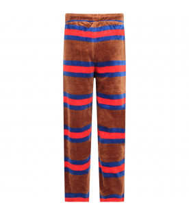 Brown kids sweatpants with colorful stripes