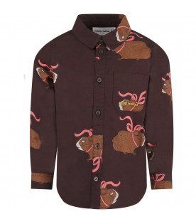 MINI RODINI Brown kids shirt with colorful guinea pigs