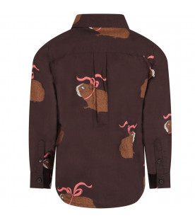 Brown shirt for boy with colorful guinea pigs