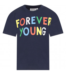 Blue kids T-shirt with colorful writing