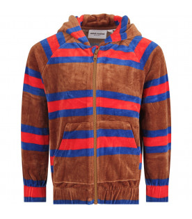 MINI RODINI Brown kids sweatshirt with colorful stripes