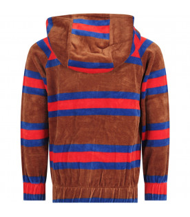 Brown kids sweatshirt with colorful stripes