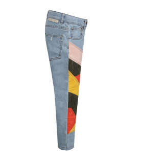 Light blue girl jeans with colorful patches