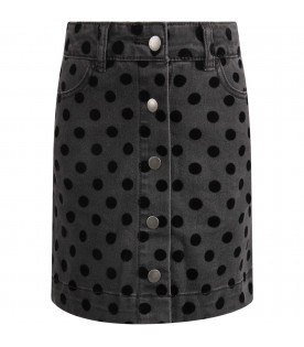 STELLA MCCARTNEY KIDS Grey girl skirt with black polka-dots