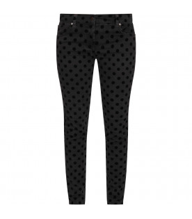 Grey girl jeans with black polka-dots