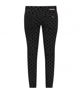 STELLA MCCARTNEY KIDS Grey girl jeans with black polka-dots