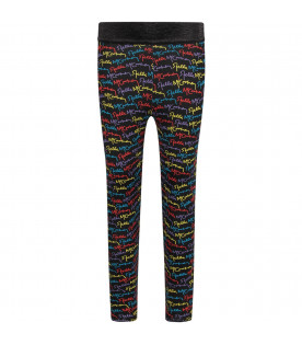 STELLA MCCARTNEY KIDS Leggings nero per bambina con logo colorato