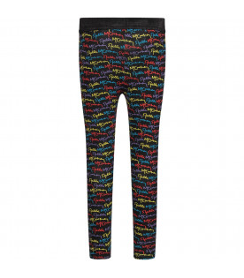 STELLA MCCARTNEY KIDS Black girl leggings with colorful logo