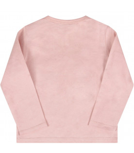 STELLA MCCARTNEY KIDS Pink babygirl T-shirt with silver stars