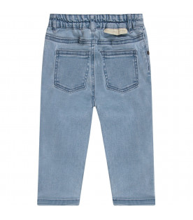 STELLA MCCARTNEY KIDS Light blue babygirl jeans with mouses