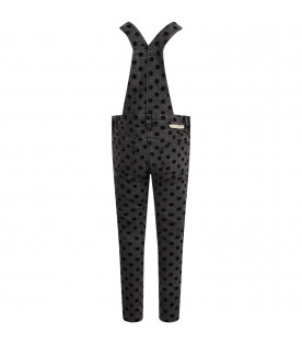 STELLA MCCARTNEY KIDS Grey girl dungarees with black polka-dots