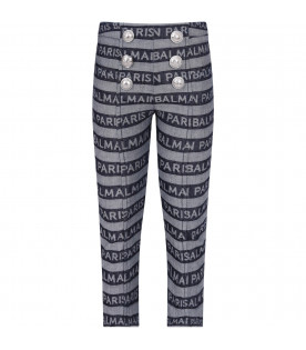 BALMAIN KIDS Jeans denim per bambina con logo all-over