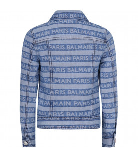 BALMAIN KIDS Denim girl jackeet with all-over logo
