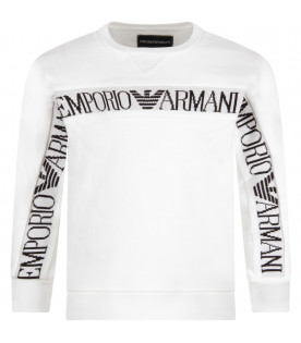 ARMANI JUNIOR White boy sweatshirt with black logo and eagle