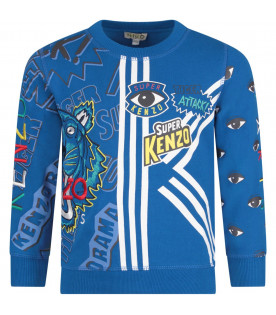 KENZO KIDS Blue boy sweatshirt with colorful logos
