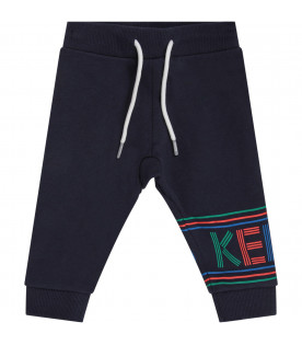 KENZO KIDS Blue babykids pants with colorful logo
