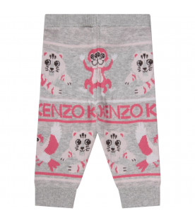 KENZO KIDS Grey babygirl pants with pink logo
