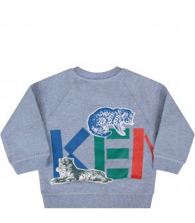 KENZO KIDS Light blue babyboy sweatshirt with colorful logo