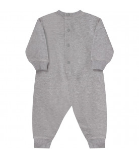 KENZO KIDS Grey babyboy babygrow with iconic tiger and logo