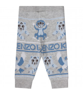 KENZO KIDS Grey babyboy pants with light blue logo