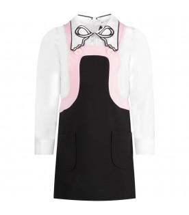 White, pink and black girl dress