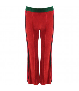 GUCCI KIDS Green and red girl pants with Web stripes