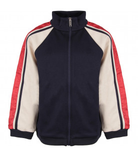 GUCCI KIDS Blue and ivory boy sweatshirt with stripes
