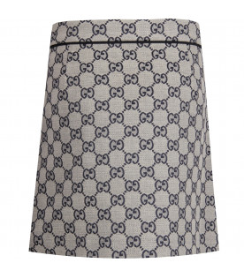 GUCCI KIDS Blue girl miniskirt with GG