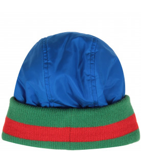 GUCCI KIDS Light blue kids beanie hat with logo