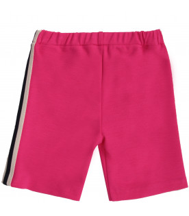 GUCCI KIDS Fuchsia baby girl pants with stripes