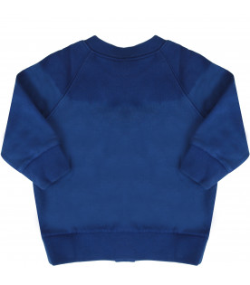 GUCCI KIDS Royal blue baby girl sweatshirt with logo