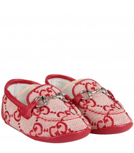 Red baby boy loafers with GG and horsebit