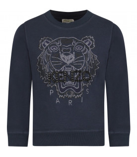 Blue girl sweatshirt with silver iconic tiger
