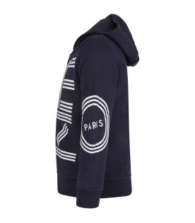 KENZO KIDS Blue kids sweatshirt with white logo