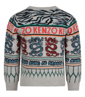 KENZO KIDS Grey boy sweater with colorful japanese dragons