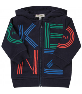 KENZO KIDS Blue babyboy sweatshirt with colorful logo