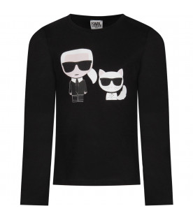 Black girl T-shirt with colorful Choupette and Karl Lagerfeld