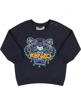KENZO KIDS Blue babyboy sweatshirt with iconic tiger